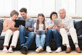 family using internet